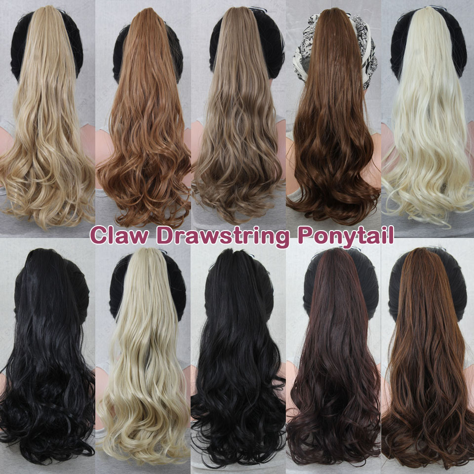 Wish Synthetic Claw Drawstring Ponytail 21inch 140g Long Wave Hair