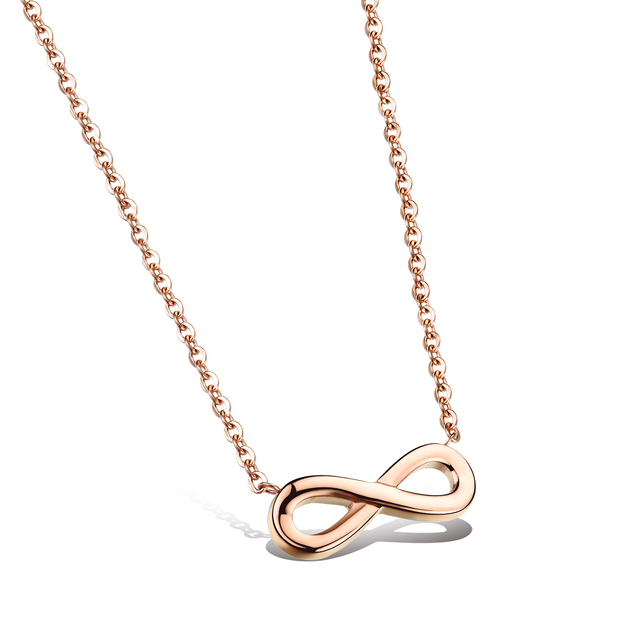 Romantic Simple Stainless Steel Infinity Symbol Necklaces Rose Gold