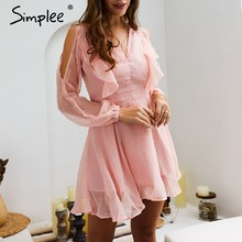 Simplee Sexy cold shoulder women short chiffon dress Summer backless ruffle plus size dress Polka dot spring see through dresses(China)