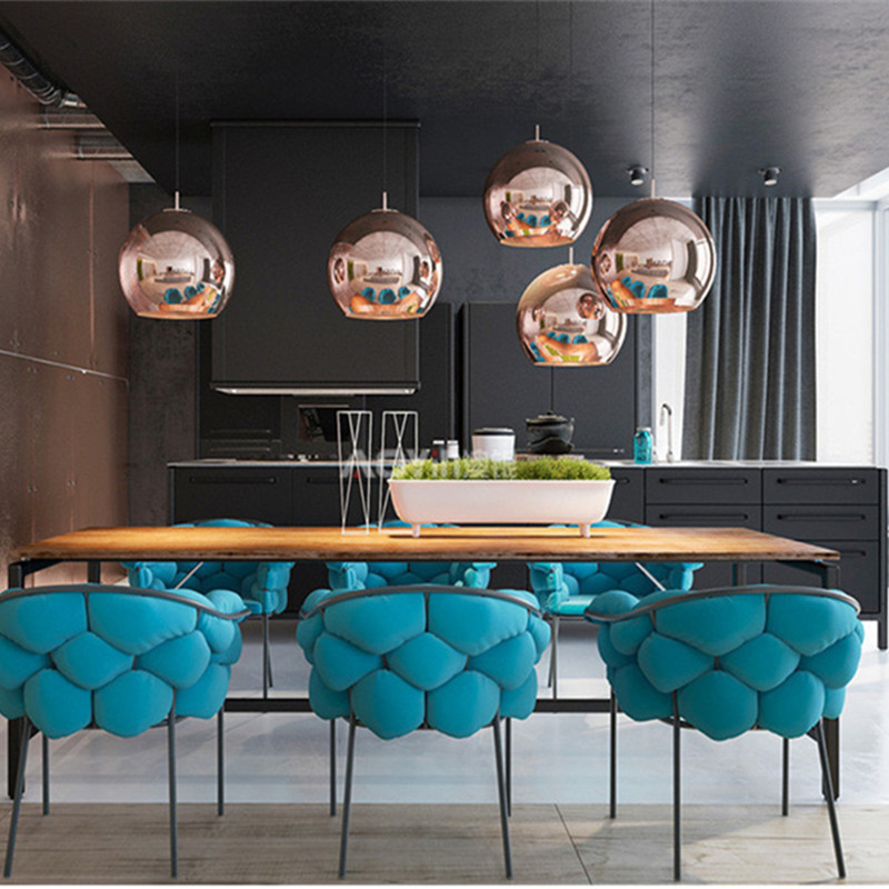 цены Nordic Loft Art Electroplated Glass Tom DIXON Chandeliers Modern Restaurant Living Room Hanging Lights Coffee Shop Led Lights