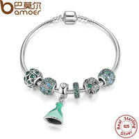 BAMOER Summer Collection Authentic 925 Sterling Silver Green Bracelet With Lucky Clover Charm Engagement Jewelry PSB007