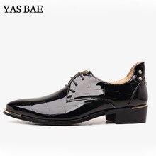 Большие размеры; китайская брендовая классическая мужская обувь; цвет черный, красный; в клетку; платье с эффектом пуш-ап из лакированной кожи; офисная элегантная обувь больших размеров для мужчин