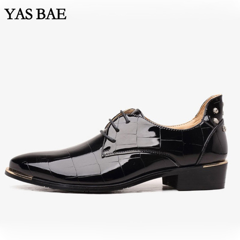 Big size china brand classic male Footwear black Red Plaid Push dress patent leather office Large Social elegant shoe for men