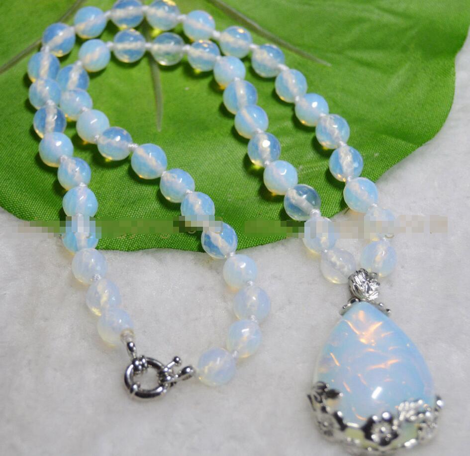 8mm Sri Lanka Moonstone Round Beads Pendant Necklace 18/'/' AAA+ Pretty