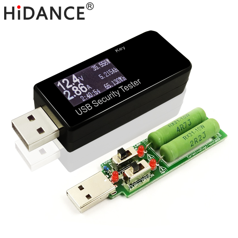 USB 30V DC Voltage Current Detector Meter power bank capacity Tester  + 3 kind Resistor Electronic load discharge Resistance lm317 adjustable dc power supply voltage diy voltage meter electronic training kit parts