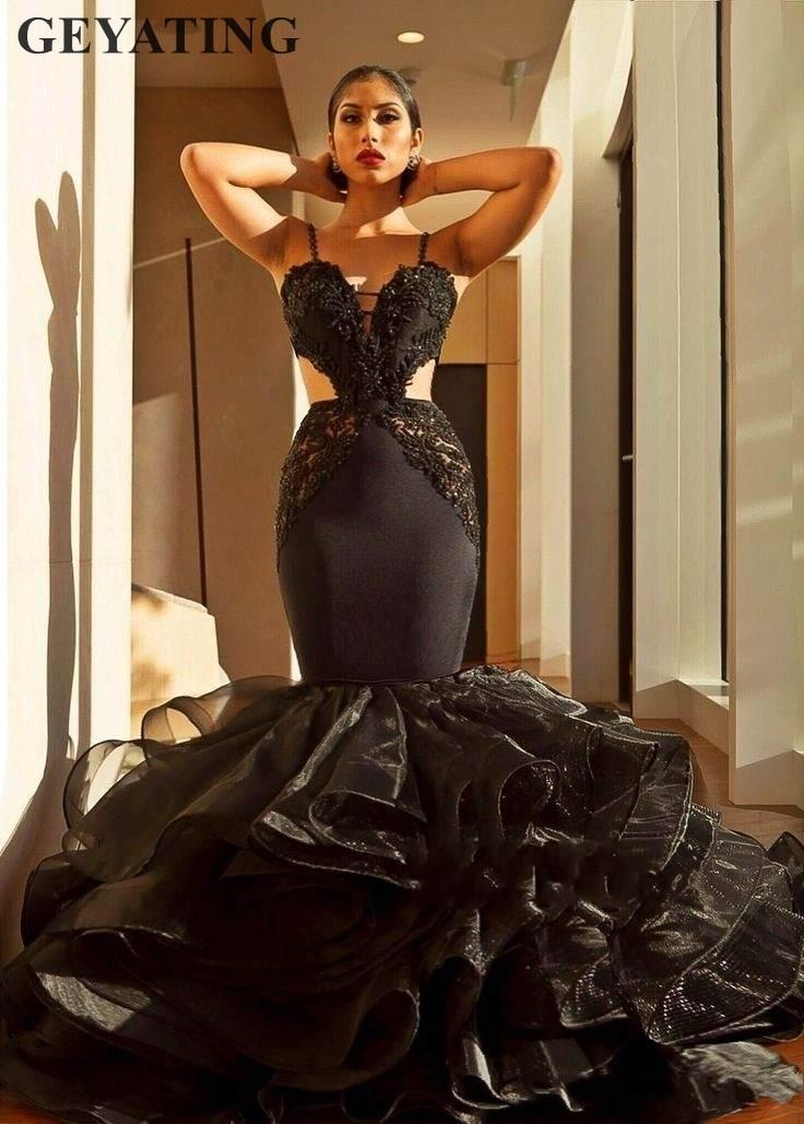 Sexy Black Lace Mermaid Prom Dresses 2019 Backless Ruffles ...