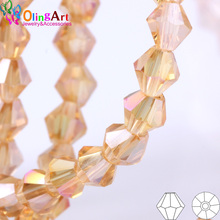 OlingArt 3/4/6/8mm  Bicone Upscale Austrian Multicolored crystal champagne color beads Loose bead bracelet DIY Jewelry Making