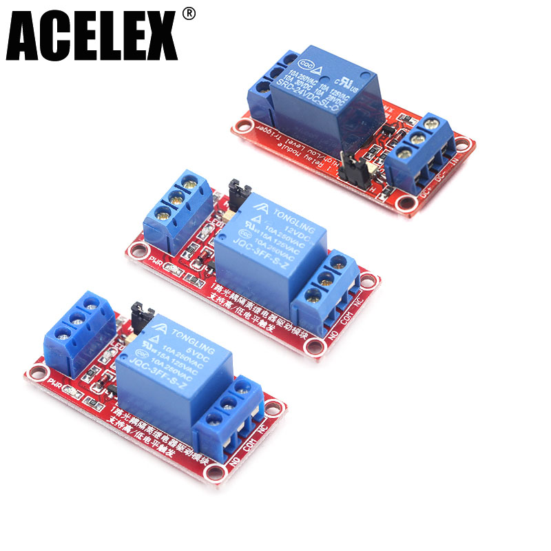 Original One 1 Channel 5v 12v 24v Relay Module Board Shield With Optocoupler High And Low Level Trigger Power Supply Module Durable Modeling