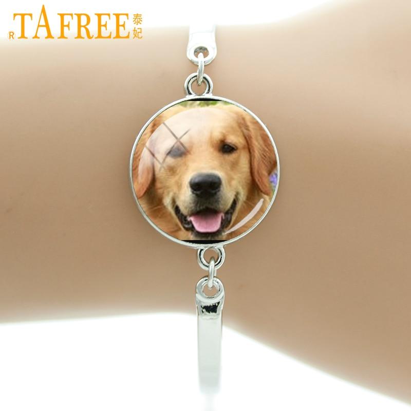 TAFREE Cute Dog Bracelet free-spirited Retriever Luby brown Labrador greyhound round Glass men women fashion lovely jewelry DG19
