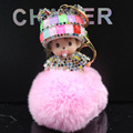 Cute Monchichi Key Chain Sleutelhanger Strass Keychain Keyring Fluffy Ribbit Fur Ball Pom Pom Women Bag Charm Porte Clef m168