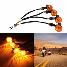 4Pcs/Set Motorcycle Amber Round Turn Signal Direction Indicator Light Lamp Bulbs Universal Free Shipping