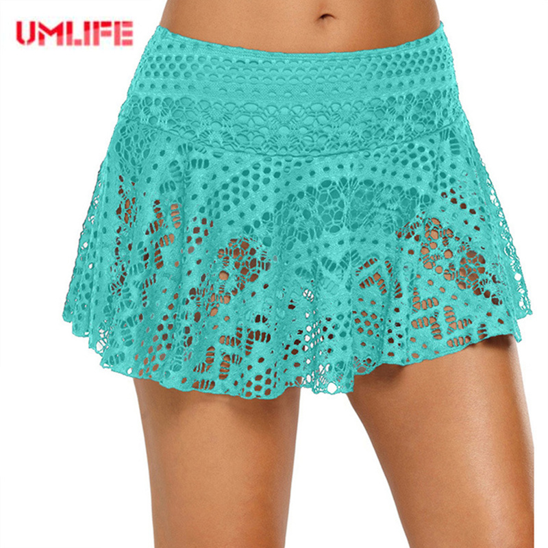 UMLIFE New Beach Skirt Womens Lace Hollow Out Swimsuit Beach Shorts skirt Women Bottoms Sports Yoga Elastic Shorts flat-angle