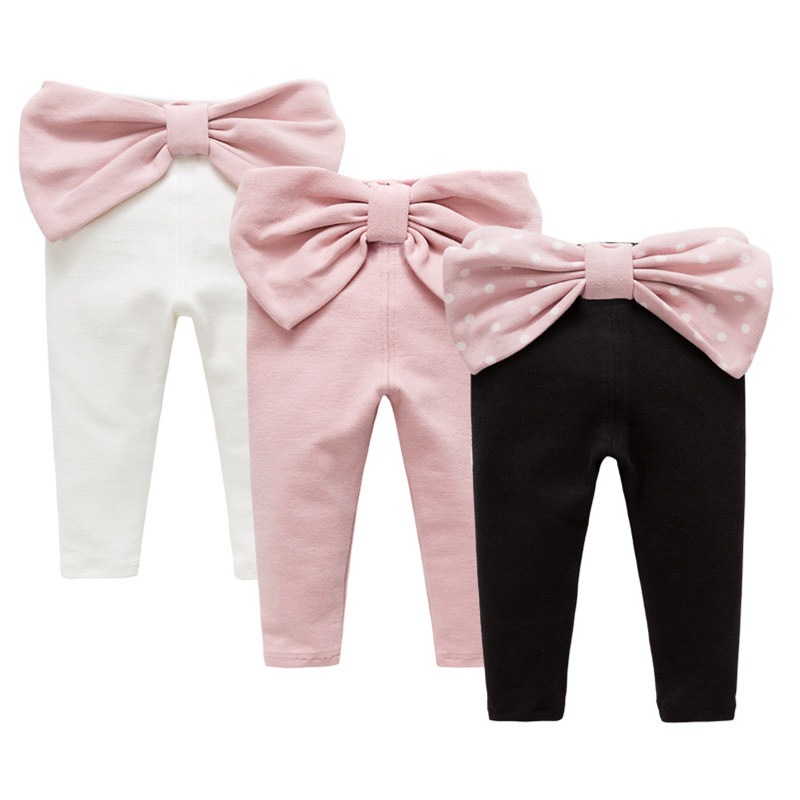 Autumn Baby Girl Pants Princess Back Big Bow Infant Pants Soft Cotton Baby Clothing Pink White Black Leggings Trousers