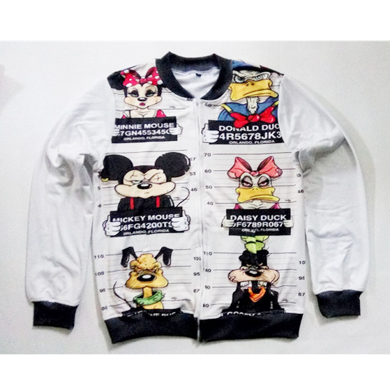 Real American Size Funny - Mouse& Friends Mugshots 3D Sublimation Print Zipper Up Jacket plus size