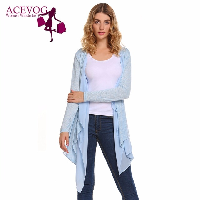 522dc0349f ACEVOG Draped Women Cardigan Chiffon Patchwork Long Sleeve Irregular Hem  Cardigans Thin Open Front Summer Autumn Ladies Sweaters