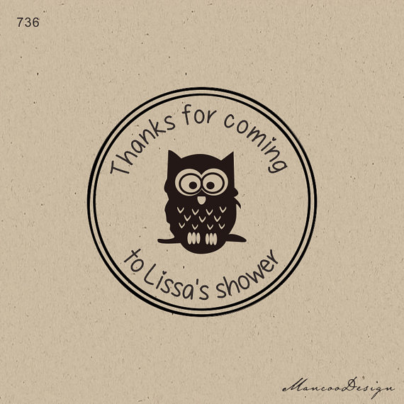 Custom Owl Baby Shower Stamps Baby Shower Custom Thank You For Coming Baby  Shower Personalized Stamp