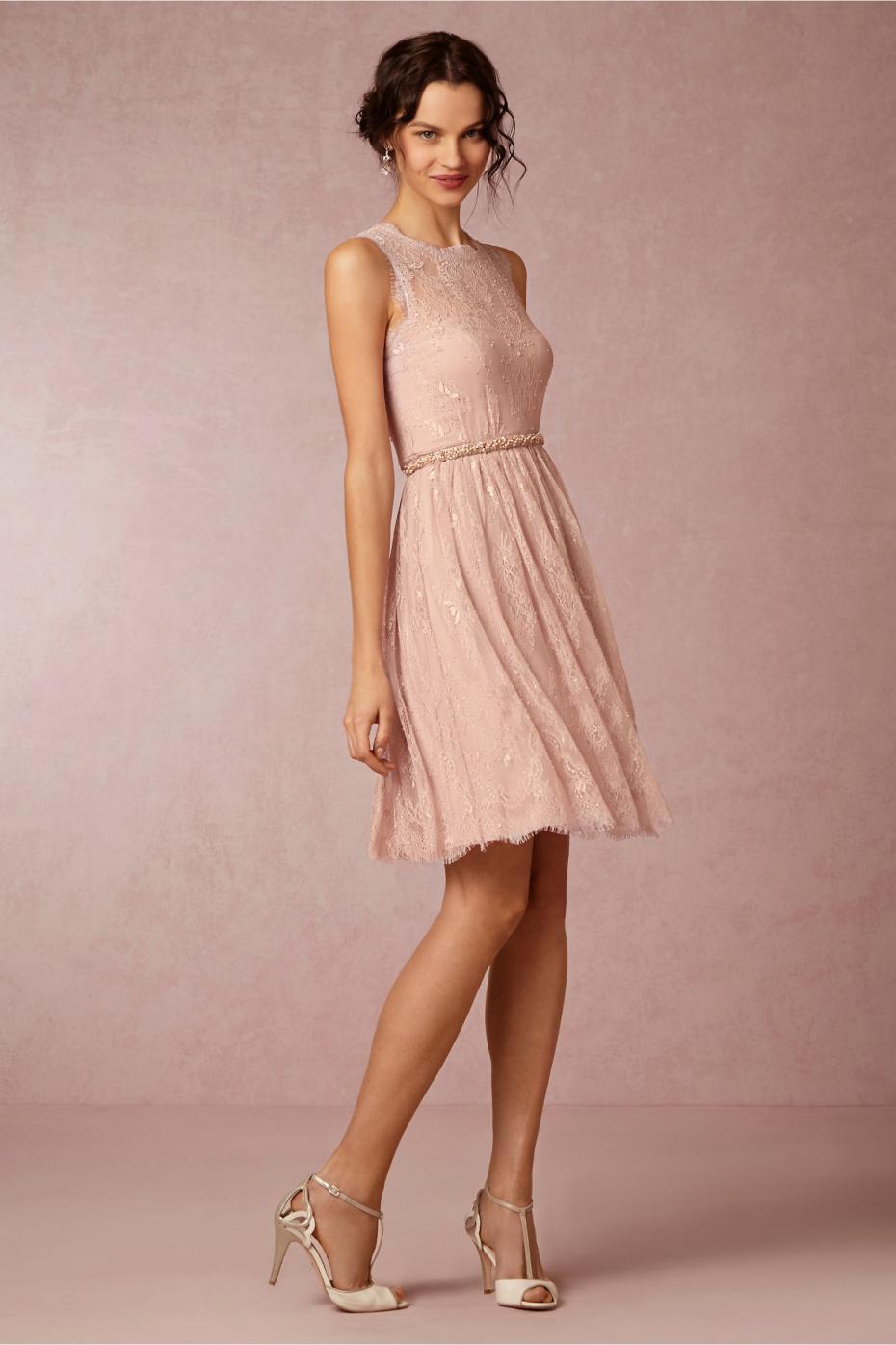 Encantadora Rosa Pálido de Encaje de Color Rosa Vestidos de dama de ...