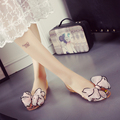 Sweet lace big flower sandals women summer transparent flats cool summer shoes bow flat sandals jelly shoes