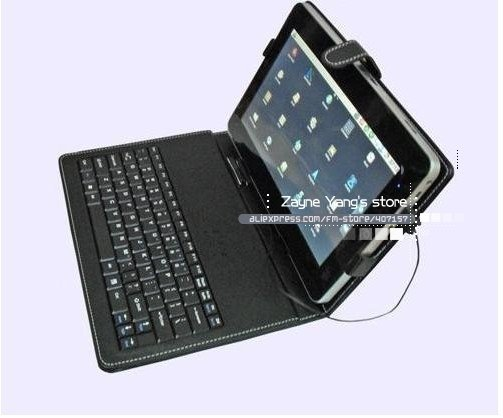 """Free shipping wholesale 7"""" 8"""" 10"""" inch keyboard case Leather case with usb keyboard bracket for apad epad ebook mid Tablet PC"""