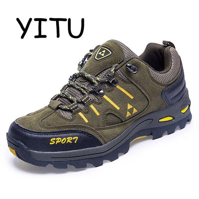 62c5870cd9 YITU 2018 Acampamento Caminhadas Sapatos Tênis Para Caminhada dos homens  Sapatos Ao Ar Livre Tênis Dos