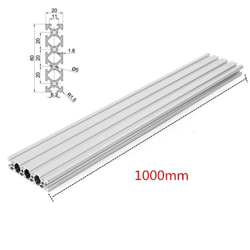 1000mm Lengte 2080 T-slot Aluminium Profielen Extrusie Frame Voor Cnc 3d-printer Plasma Laser Stand Meubels