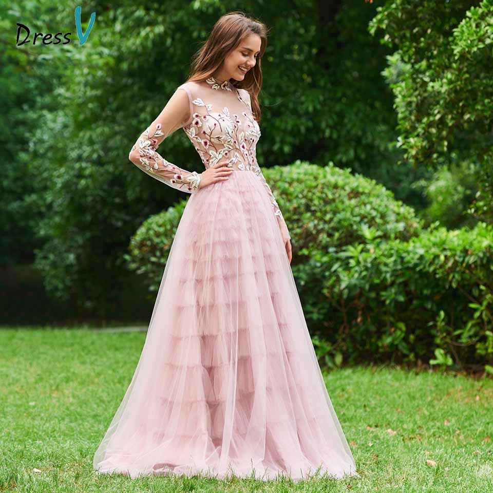 Dressv Regency Evening Dress High Neck A Line Long Sleeves Floor-length Embroidery Wedding Party Formal Dress Evening Dresses