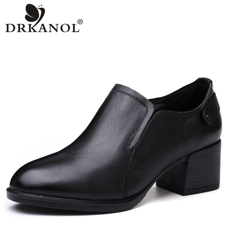 DRKANOL 2018 British Style Women High Heels Shoes Genuine Leather Women Pumps Round Toe Black Women Thick Heel Office Shoes