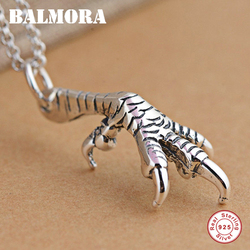 BALMORA 100% Real 925 Sterling Silver Jewelry Eagle Talon Pendant & Pendant Necklace for Women Men Fashion Retro Accessories