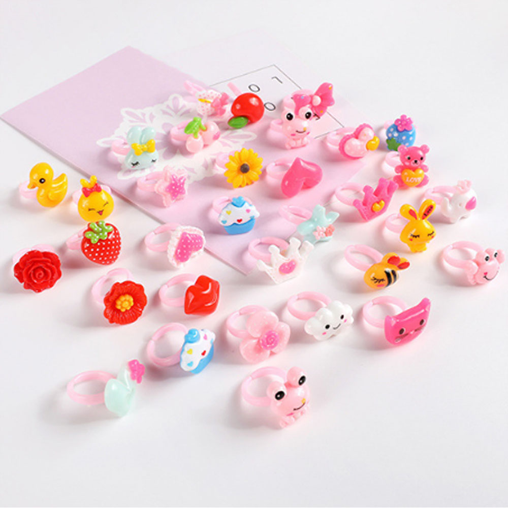 50pcs/lot Multi Patterns Children's Ring Plastic Animal Girls Princess Children Kids  Combo Child Gifts Finger Rings