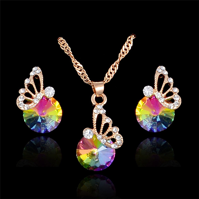 MISANANRYNE Mujer Jewelry Accessories Butterfly Austrian Crystal Necklace Earring sets for Women Wedding Hot Sale Jewelry Set
