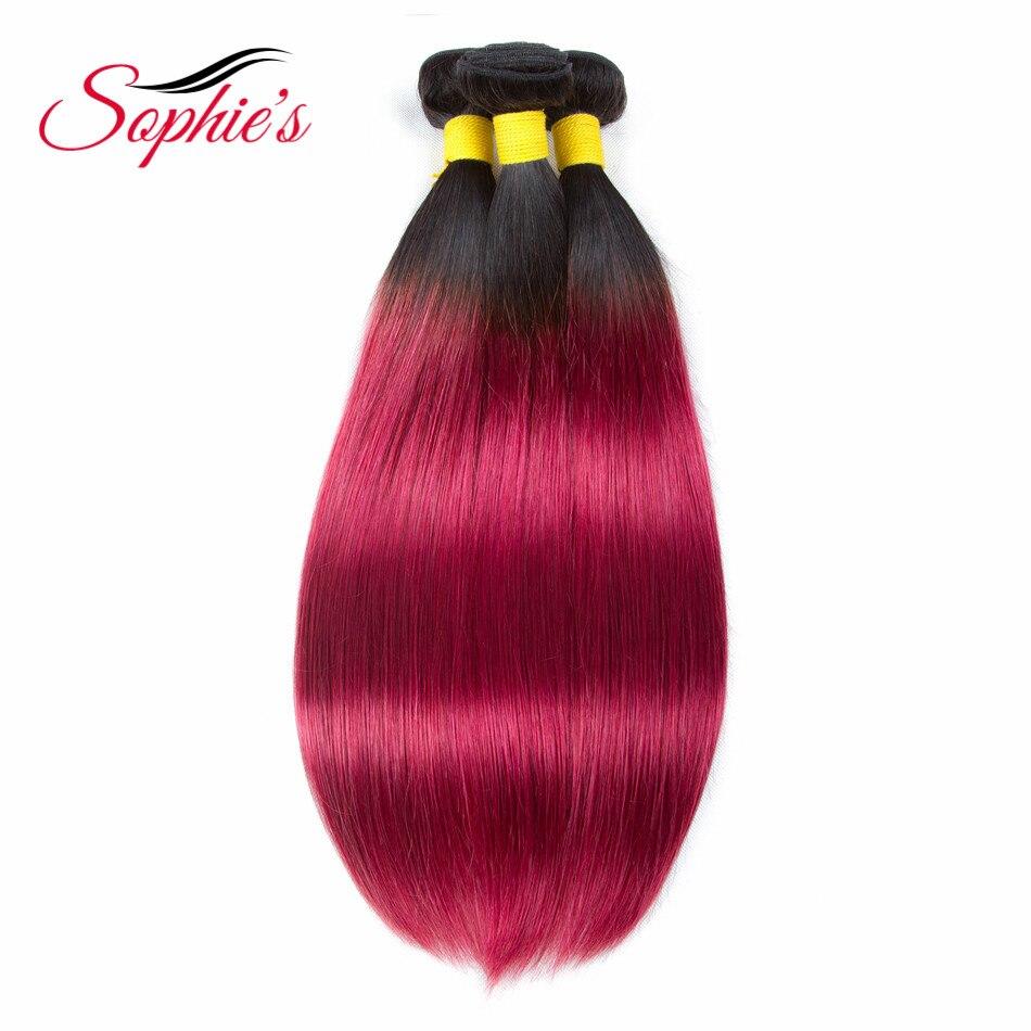 Sophie's Pre-colored Ombre 3 Bundles  T1B/BUG Color Human Hair Bundles Brazilian Straight Hair Weaves  Non-Remy Hair Extensions