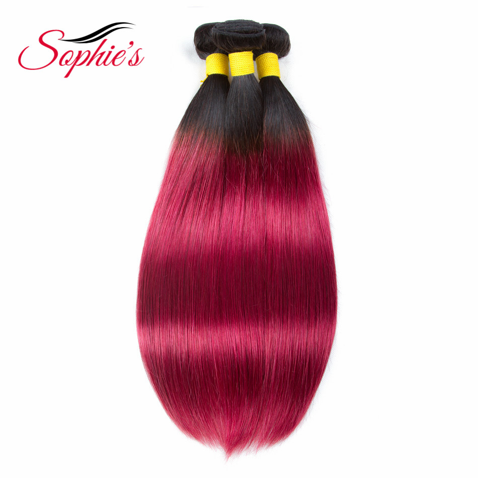 Sophies Pre-colored Ombre 3 Bundles T1B/BUG Color Human Hair Bundles Brazilian Straight Hair Weaves Non-Remy Hair Extensions