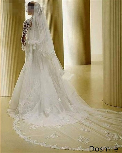Two Layers Luxury Custom Made 250 cm  Lace Edge Appliques Bridal Wedding Veil Cathedral  White/Ivory Long Veu De Noiva Free Comb