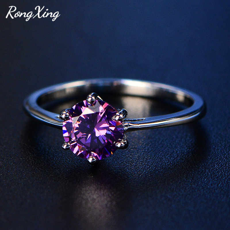 RongXing 7MM Round Purple/Red/Blue Zircon Engagement Rings For Women 925 Sterling Silver Filled Birthstone Ring Wedding Jewelry