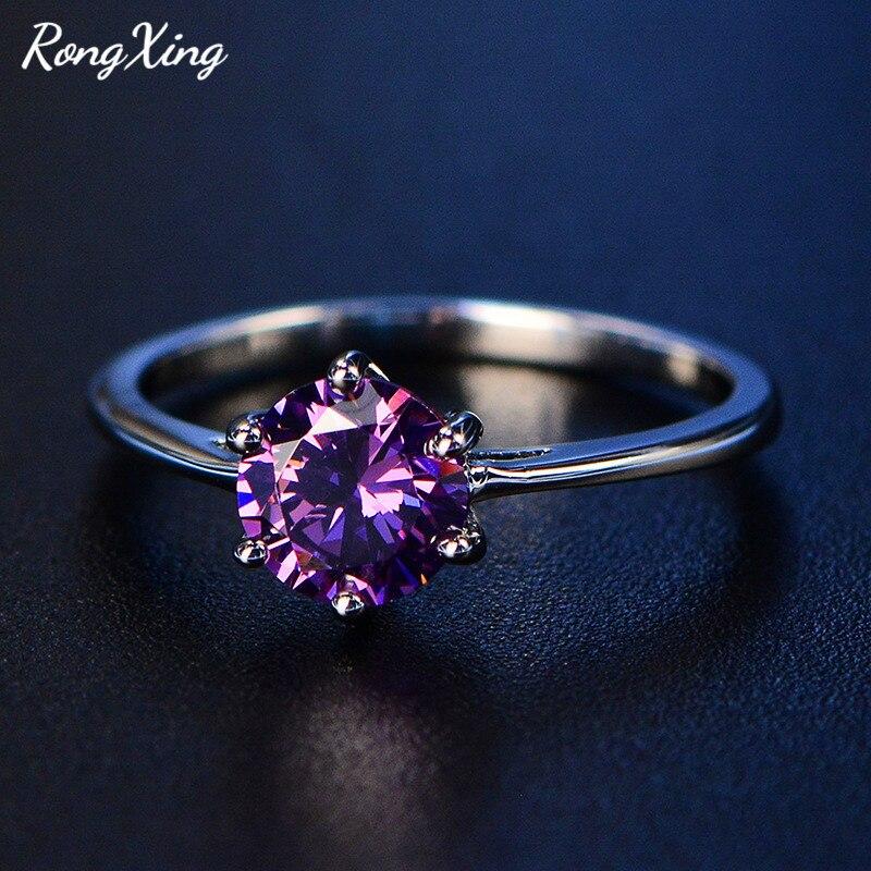 Fashion Purple Sapphire Birthstone 925 Silver Filled Wedding Bridal Ring Gift