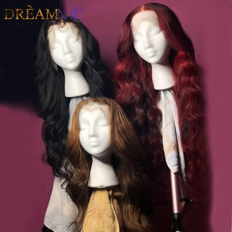 Image 2 - Red Body Wave Lace Front Human Hair Wig Preplucked Ombre Brazilian Burgundy Wigs Remy 13X6 Deep Part Frontal Wig For Black Women-in Human Hair Lace Wigs from Hair Extensions & Wigs