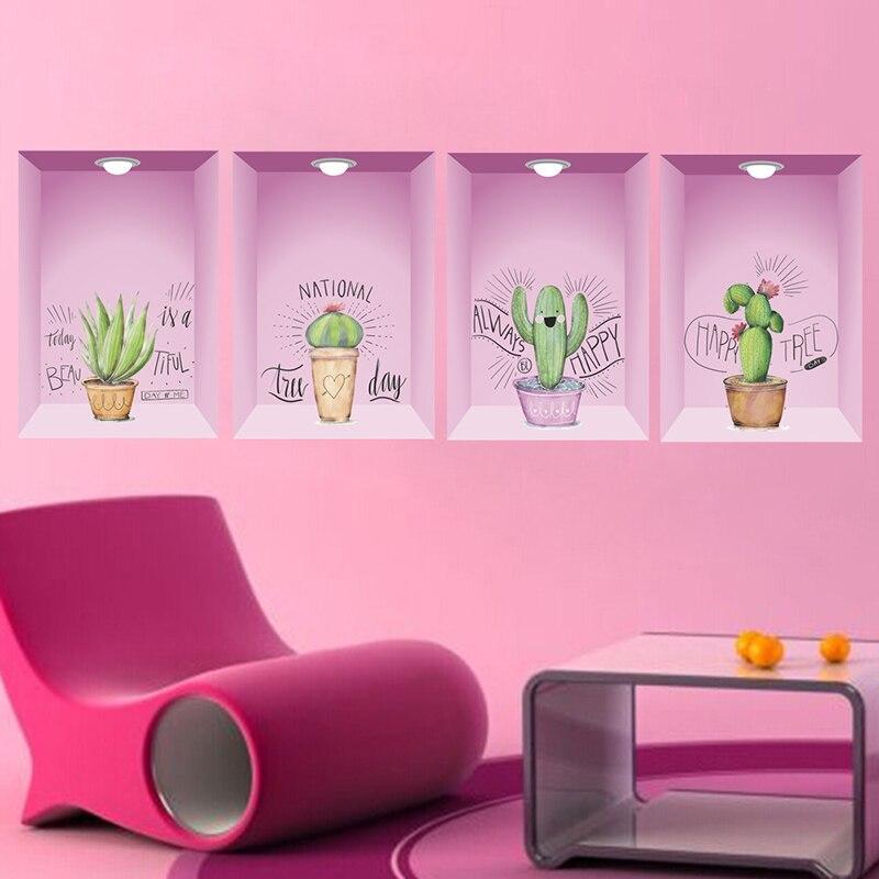3D яркие отверстия в горшечных растениях цветы Цветочные настенные наклейки для гостиной спальни украшения росписи Декор Наклейки на стену      АлиЭкспресс