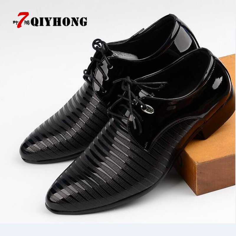 Hot Sale Size 38 48 Formal Clothes Casual Shoes Men Spring Autumn Waterproof Solid Lace Up Man Fashion Flat With Pu Leather Shoe