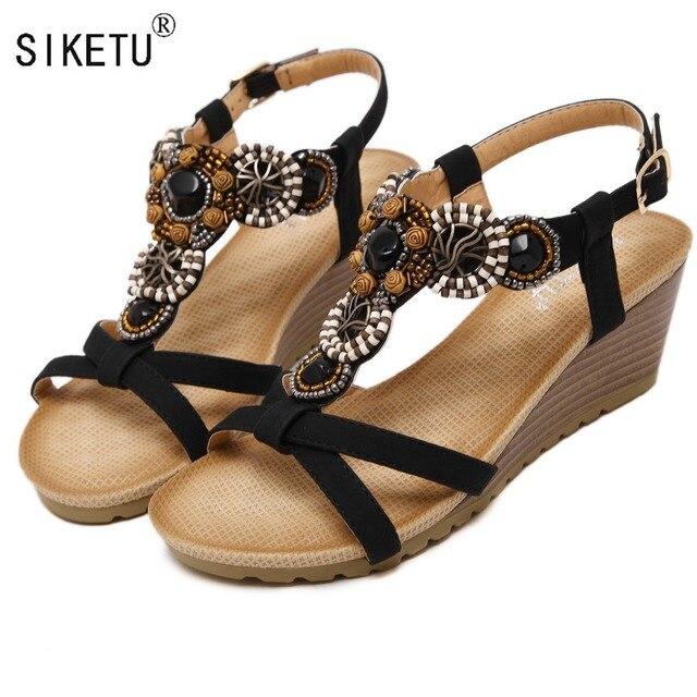 SIKETU Marca 2017 Boemia Sandálias de Cunha Mulheres Verão Do Vintage de Strass Mulher Flip Flops Praia Sapatos Femininos