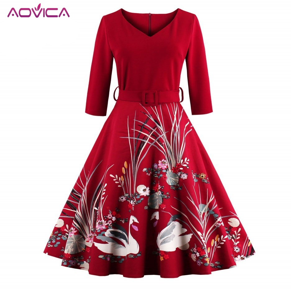 1b843bb760a6 Aovica elegante Cisne rojo estampado 50 s Vintage vestido cuello en V 3/4  manga de cintura alta ...