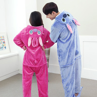 Hotsale Adult Stitch Pajama Sets Hooded Cute Animal Pyjamas Flannel Pijama Stitch For Hallowwen Christmas Carnival