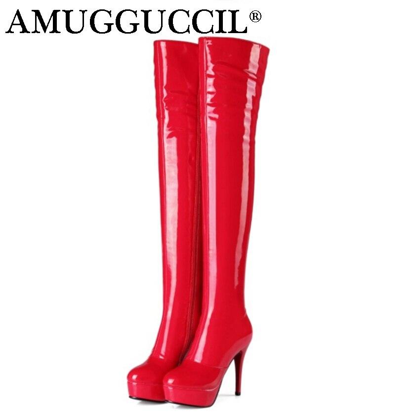2017 New Plus Big Size 33-45 Black Red Apric Zip High Heel Platform Sexy Over The Knee Thigh High Autumn Winter Women Boot X1641 коньки onlitop 30 33 red black 1231414