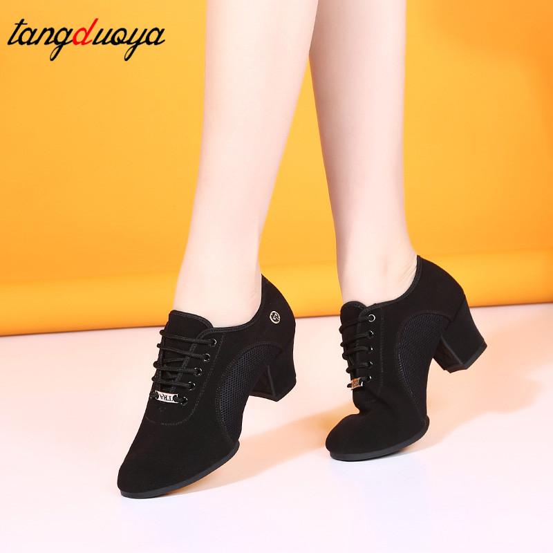 breathable shoes women dance shoes lace up heels women ballroom latin dance shoes big size 34 42