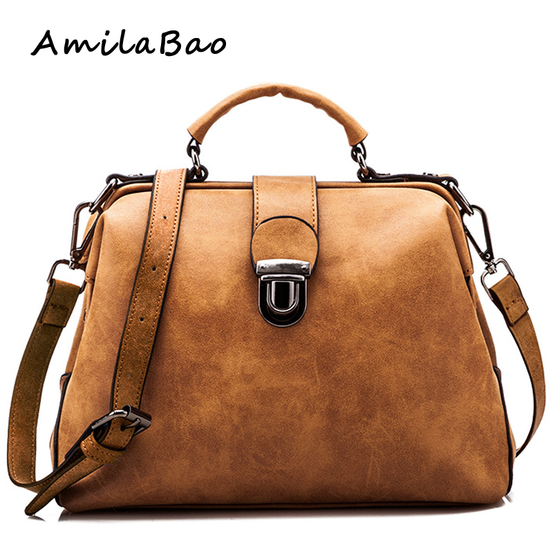 2015 bolsas feminina Retro women messenger bags handbag Doctor bag Fashion brand Shoulder women leather handbags orange bag