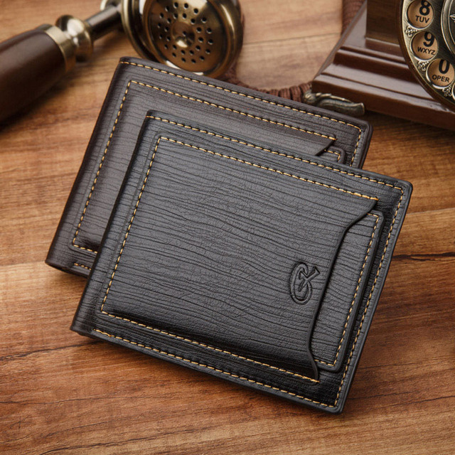 ce6ace91705b9 Imitate Wood Texture Retro Leather Men Wallets ID Card Holder European  style Fashion Wallets for Men