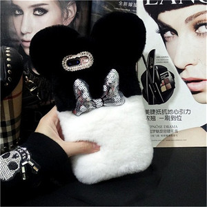 Image 4 - Lovely Warm Case For Xaomi 8 9 SE MAX2 6X 5X Redmi 5A 6A 8A Note5A 6 7 8 Pro Luxury Fluffy Plush Rabbit Fur Hair Ball Back cover