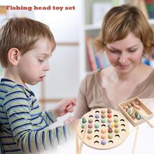 Яркие цвета Магнитные рыболовные бусины Детские деревянные игрушки раннего развития мастерство настольная игра креативная и забавная рыбалка игрушка с бисером набор