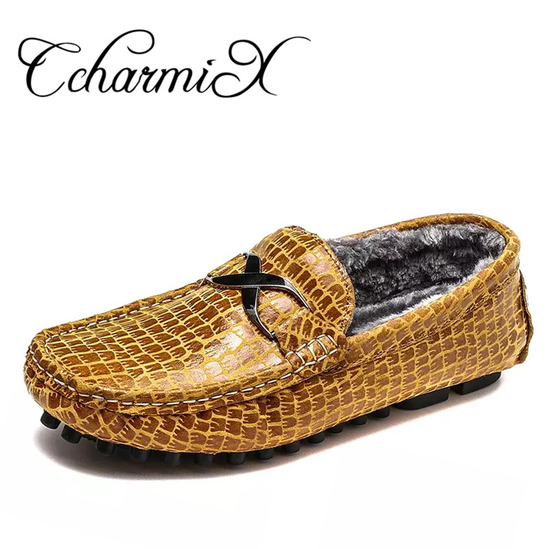 CcharmiX Big Size 5-15 Genuine Leather Mens Casual Loafers Fashion Slip On Winter Warm Male Moccasins CowLeather Men's Boat Shoe pl us size 38 47 handmade genuine leather mens shoes casual men loafers fashion breathable driving shoes slip on moccasins