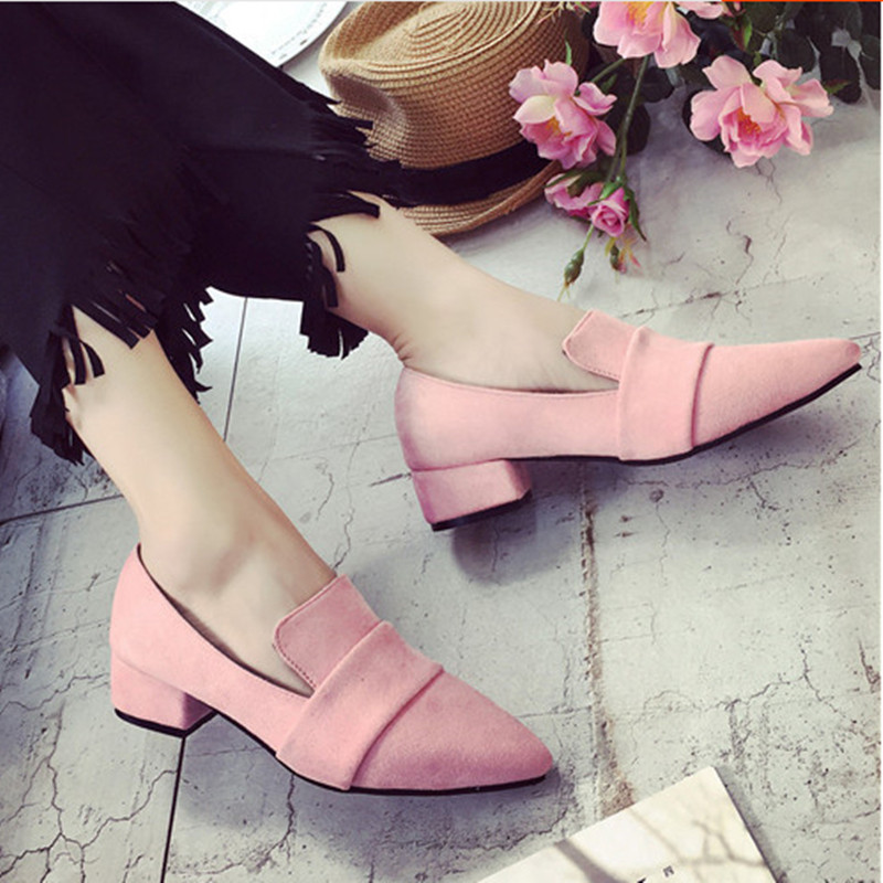 2017 New Fall Singles Shoes Korean Version The Toe Head Low-heeled Matte PU leather Shoes Wild Female Pumps zapatos mujer 35-39 2016 summer new leather tendon at the bottom side of the empty fish head crude rainbow low heeled shoes women xtf039