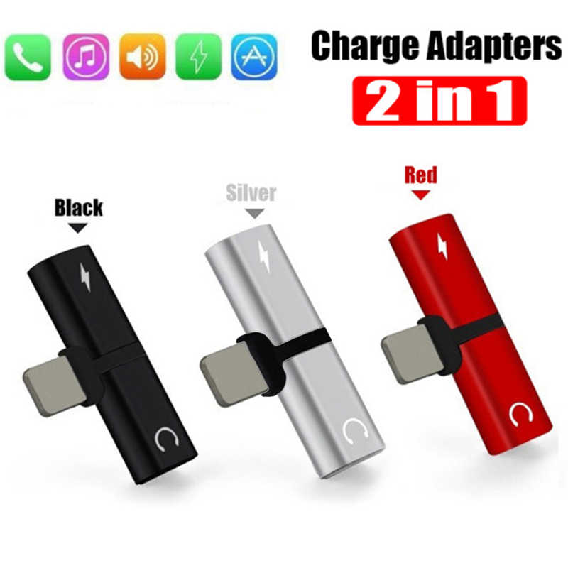 2 En uno doble auricular Aux cable para convertidor para iPhone X 10 7 8 Plus carga de Audio para Lightning conector para auriculares micro usb